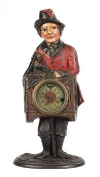 Bradley & Hubbard Organ Grinder Cast Iron Blinking Eye Clock
