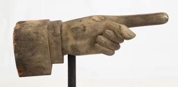 19th Century Carved Folk Art Pointing Hand