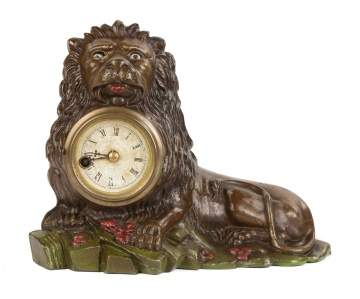 Bradley & Hubbard Lion Cast Iron Blinking Eye Clock