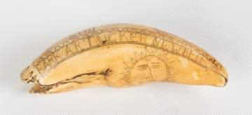 19th Century Scrimshaw Whales Tooth, Bark 'A. R. Tucker' of New Bedford