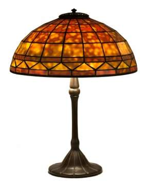 Tiffany Studios, New York, Dichroic Glass 'Colonial' Table Lamp