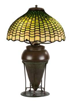 Tiffany Studios, New York, Geometric Table Lamp