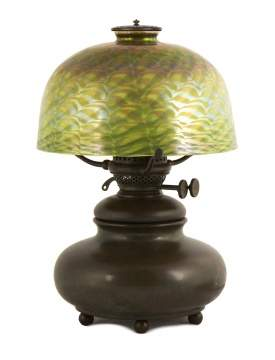 Tiffany Studios, New York, Lamp Base with Quezal Shade