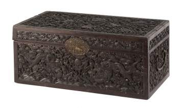 A Chinese Carved Hardwood 'Dragon' Chest