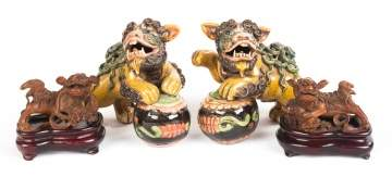 Pair of Ceramic Foo Lions & Pair of Sandalwood Foo Lions