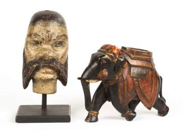 Carved and Painted French Puppet Head on Stand & Indian Elephant