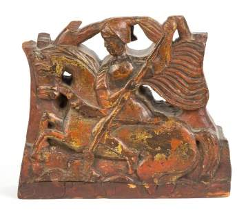 19th Century Wood Carving of St. George and the Dragon