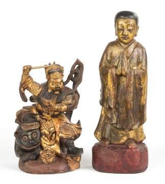 Chinese Carved Wood & Polychrome Money God & Praying Monk
