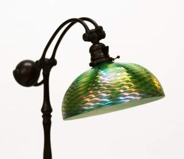Tiffany Studios, New York, Counter Balance Floor Lamp with Damascene Shade