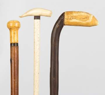 Group of Carved Wood & Whales Bone Canes