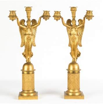 Pair French Empire Gilt Bronze Candelabra