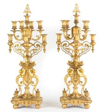 Pair of 19th Century Gilt Bronze Candelabras
