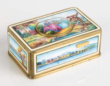A Fine German Enameled Singing Bird Box