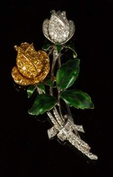 Ladies Carved Floral Brooch with Yellow & White Diamonds