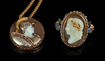 Gold, Jeweled & Enameled Cameo Ring & Necklace