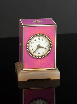 A Belle Epoque Enamel & Agate Desk Clock, By Cartier