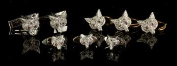14K Gold & Diamond 'Fox' Cuff Links & Studs