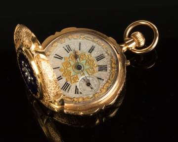 18K Gold Enameled Geneva Pocket Watch