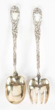Tiffany & Co. Sterling 'Chrysanthemum' Salad Set