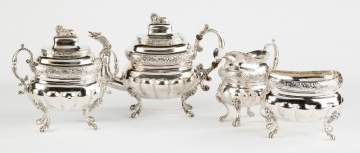 John Crawford Four-Piece Neo-Classical Silver Tea Set