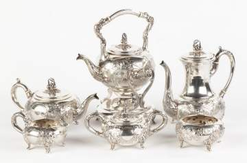 Six Piece Hand Chased Sterling Silver Tea Set