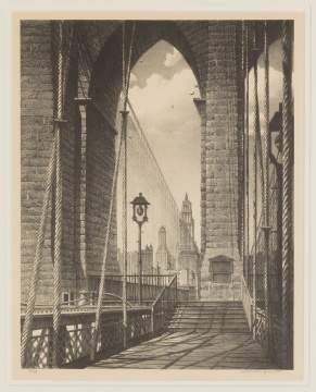 "Stow Wengenroth (American, 1906-1978) ""High Arches Brooklyn Bridge"""
