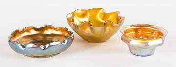 Three L.C.T. Tiffany Favrile Iridescent Bowls