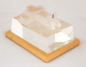 "David Dowler, Steuben ""Adobe Landmark"" Crystal Sculpture"
