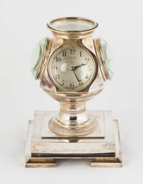 Unusual E. Vitoux Silver Desk Clock