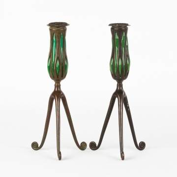 Pair of Tiffany Studios, NY 'Blown Out'  Candlesticks