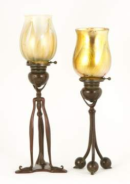 Tiffany Studios, NY Bronze & Favrile Glass Candle  Lamp with Ball Feet