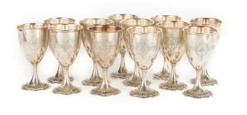 Set of 12 Graff Washbourne & Dunn Sterling Silver  Goblets