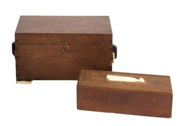 19th Century Wood & Scrimshaw Ditty Box & Scrimshaw Domino Case