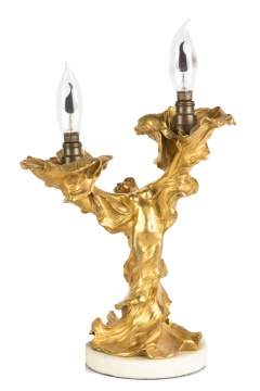 E.F. Caldwell of NY, Gilt Bronze Art Noveau Table Lamp