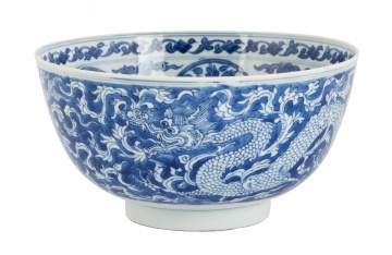 Chinese Blue & White 'Dragon & Lotus' Bowl