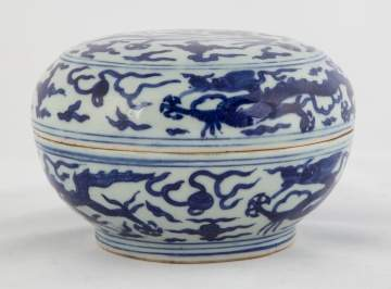 A Chinese Blue & White 'Dragon' Box & Cover
