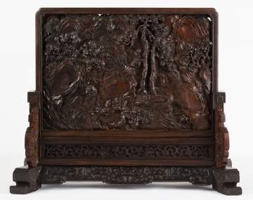 A Chinese Carved Hardwood 'Scholar' Table Screen with Imperial Poem
