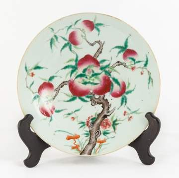 Chinese enameled Famille Rose 'Peach' Charger