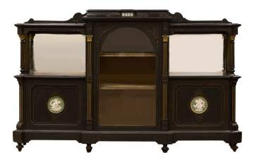 Ebonized & Gilded Side Cabinet with Wedgewood  Plaques
