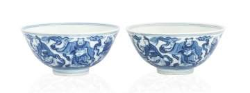 A  Pair of Chinese Blue & White 'Eight Immortals'  Bowls