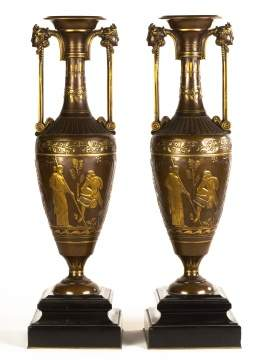 Pair Bronze Neo-Classical Urns