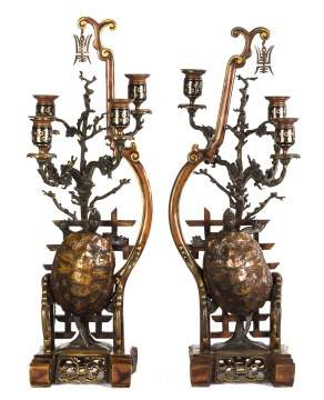 Pair Unusual Chinese Bronze & Cloisonne Candelabras