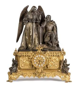 A Fine Ormolu & Bronze 'Saint Louis' King of France Mantle Clock by Raingo Frères