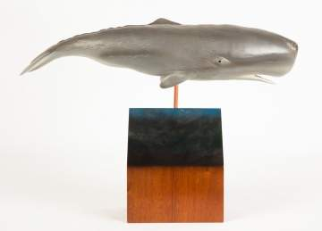 Carved and Painted Wood Sperm Whale by John Thompson