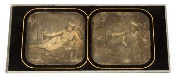 Double  Stereo View Daguerreotype of Reclining  Nude