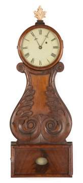 New England Carved Wood Front Lyre Banjo Clock