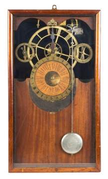 Unusual Skeletonized Wall Clock with Astronomical  Movement