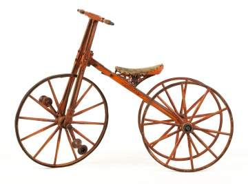 19th Century Wood and Iron Child's Tricycle