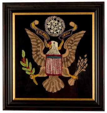 19th Century Yarn Picture of Eagle with E Pluribus  Unum