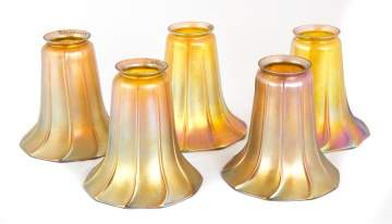 Set of Five Signed Quezal Art Glass Shades